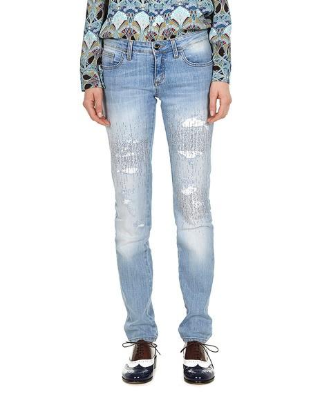 Crystal- Embellished Distressed Jeans