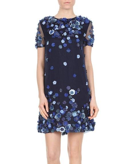Flower-embroidered Silk Chiffon Dress