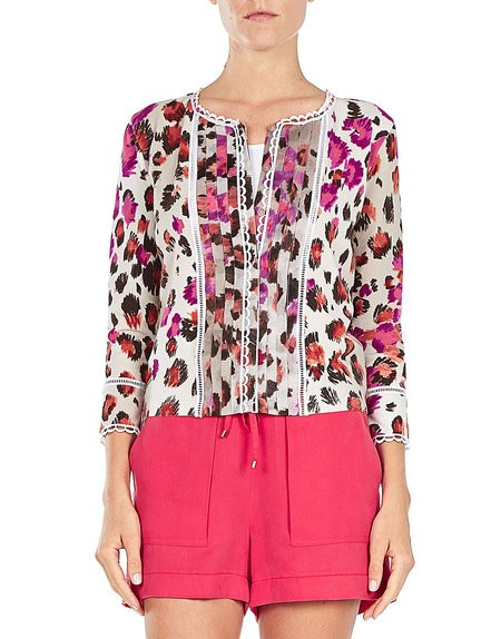 Animal-print 'Spandex'Cardigan