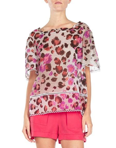 Print-Bluse aus Baumwollvoile