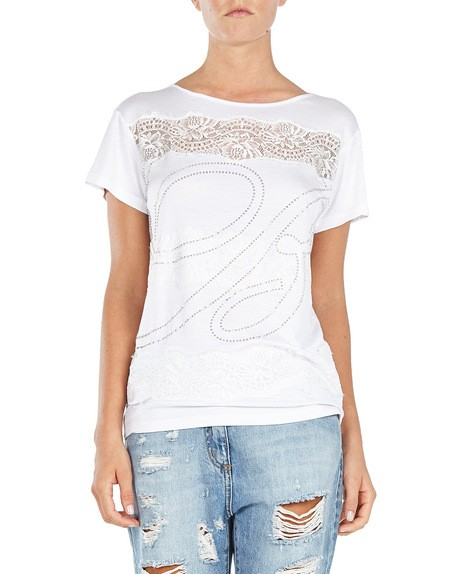 Logo And Lace-appliquéd T-shirt