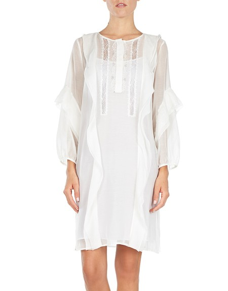 Cotton Voile And Lace-appliqueéd Shirt Dress