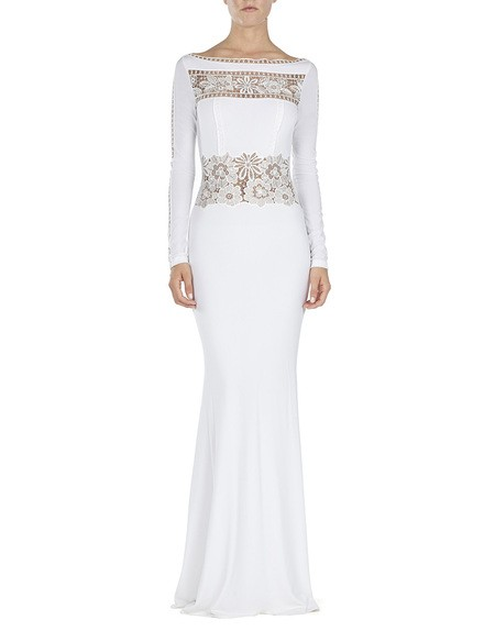 Lace-appliquéd Jersey Gown