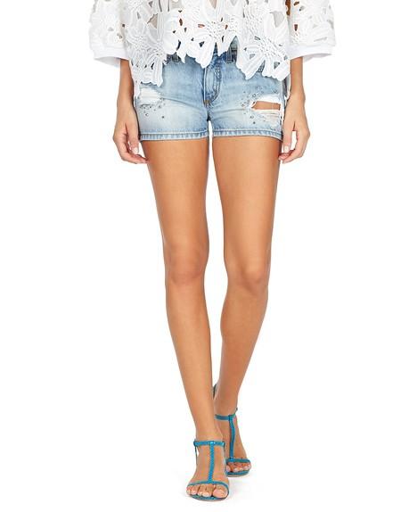Distressed Embellished Shorts