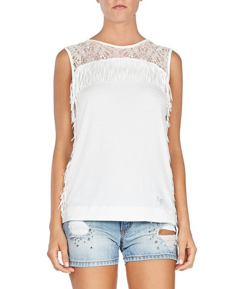 Lace And Fringe Jersey Top