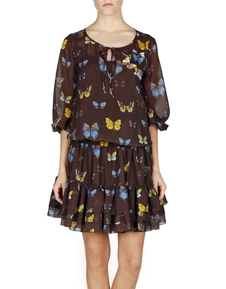 Butterfly-print Chiffon Dress