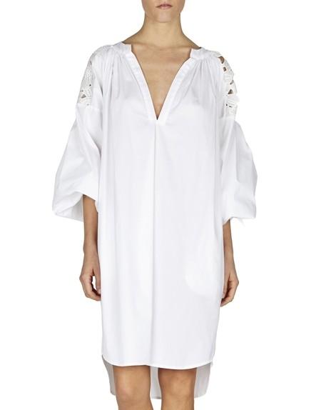 Macramé-lace Appliquéd Cotton Dress