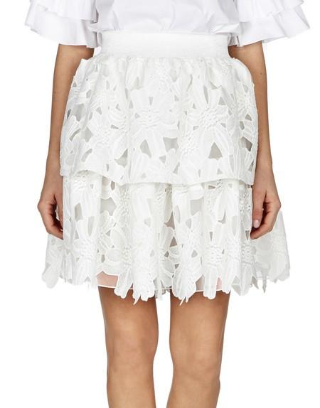 Ruffled Macramé Lace Mini Skirt