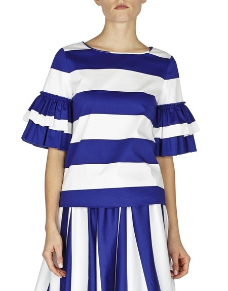 Striped Cotton Top With Ruffled Sleeves