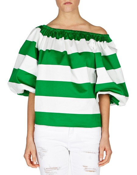 Ballon-sleeve Off The Shoulder Stripped Top