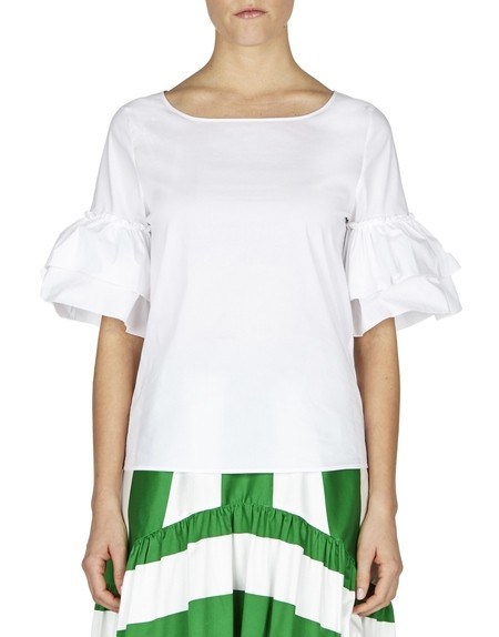 Cotton Top With Ruffled Sleeves