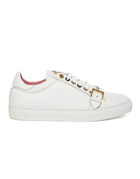 Sneakers aus Leder mit Schnalle