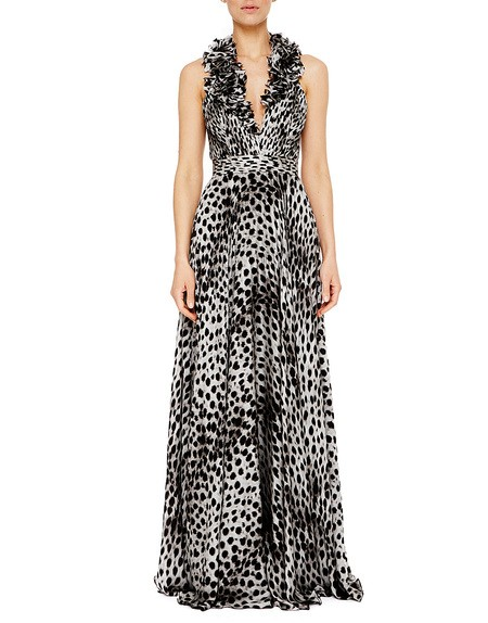 Long Silk Charmeuse Dress with Animal Print