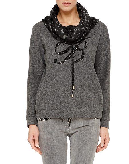 Baumwoll-Sweatshirt mit Spitzenkragen und Logo-Verzierung