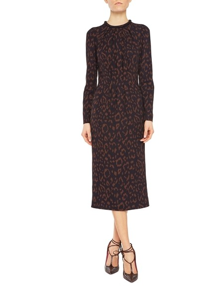 Twill midi dress with animal-print