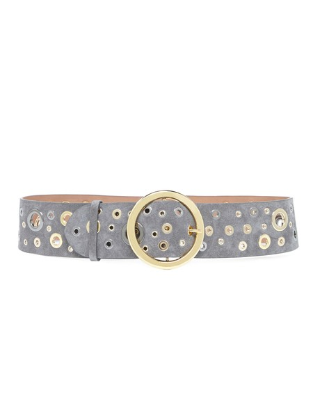 Suede Belt with Golden Eyelets