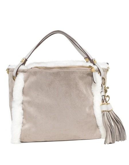 Tasche aus Stoff und Kunstpelz