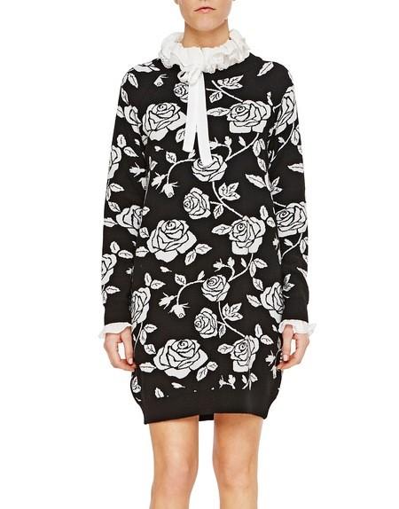 Minikleid aus Jacquard-Strick mit Rosen