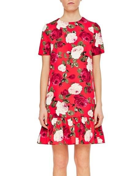 Kurzärmeliges Kleid aus Cady mit Rosen-Print