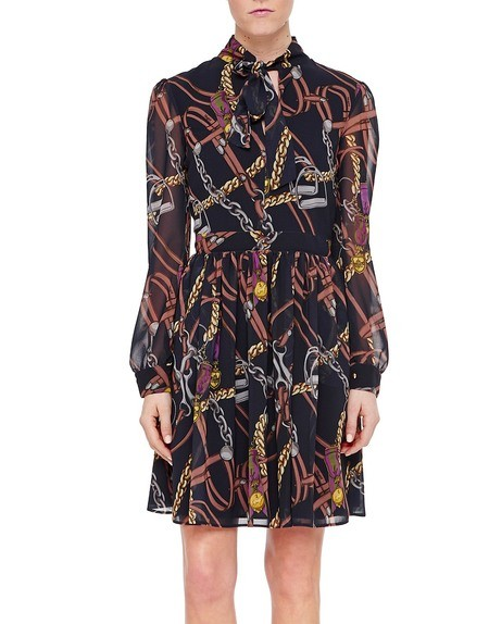 Chiffon Dress with Stirrups Print