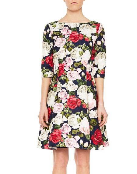 Kleid aus Jacquardstoff mit Rosendruck