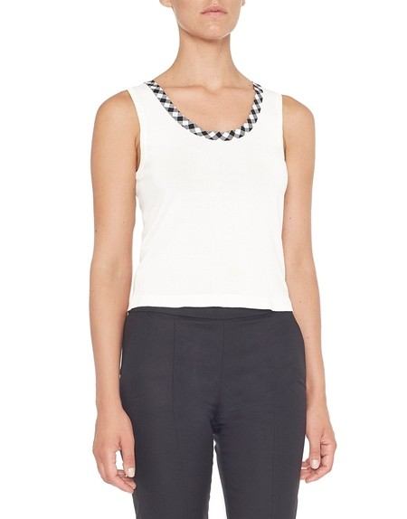 Knit Top With Vichy Trim