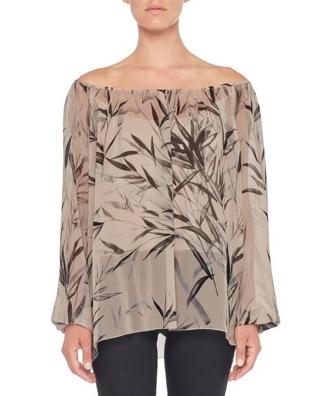 Blusa de chiffon de seda con estampado de bambú