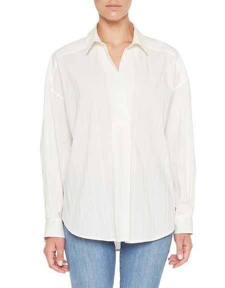 Oversize Cotton Blouse With Ribbing