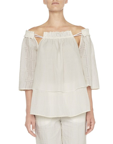 Blusa Over in Cotone e San Gallo