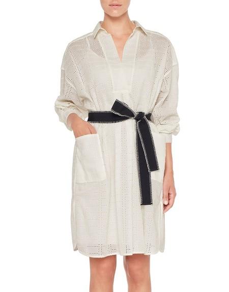 Платье-рубашка из хлопкового кружева Сангалло