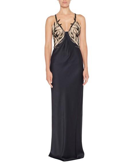Платье из атласного шелка с бамбуковой вышивкой