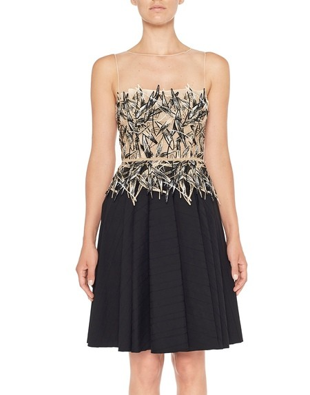 Платье из тюля и хлопка с бамбуковой вышивкой
