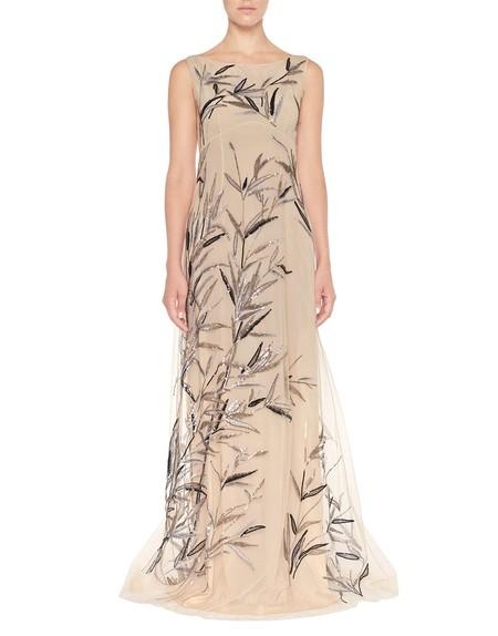 Vestido largo de tul con bordado de bambú
