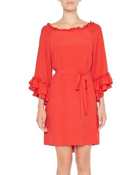 Платье из крепдешина с макси-рюшами
