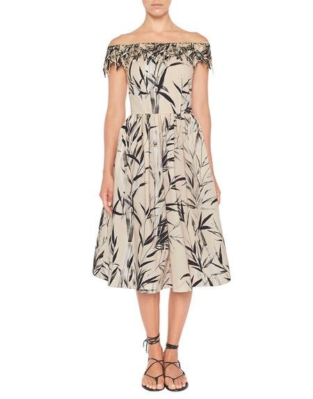 Vestido de algodón con estampado de bambú y bordado