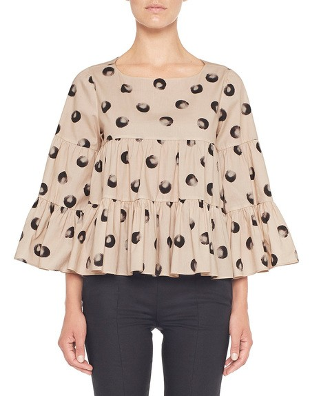 Blusa Over in Cotone Stampa Pois