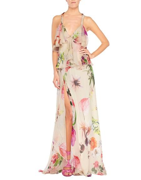Vestido de chiffon de seda con estampado de flores