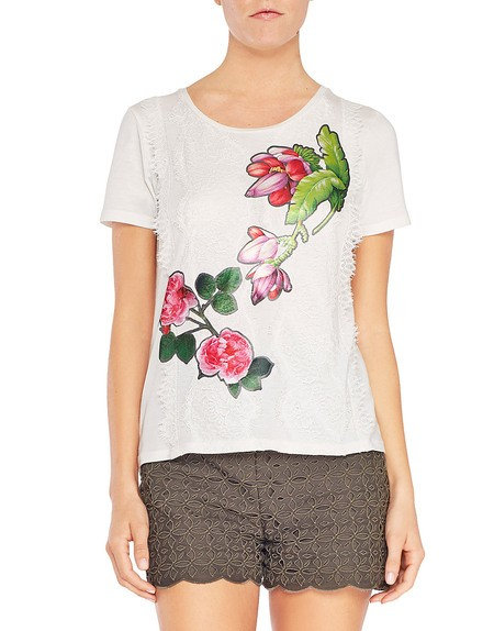 T-shirt in Viscosa Con Fiori