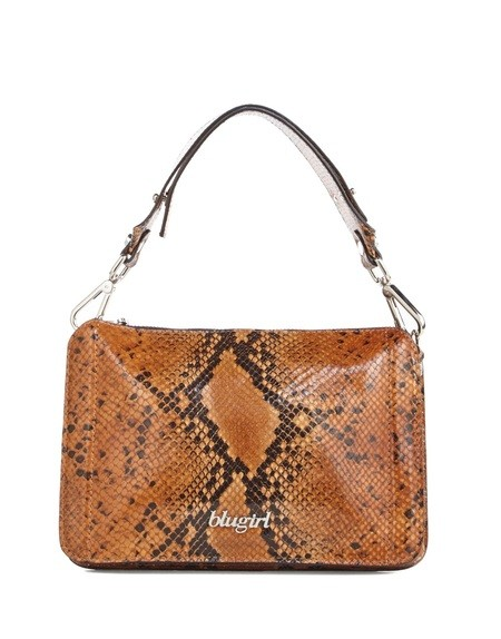 Leather Reptile Print Shoulder Bag