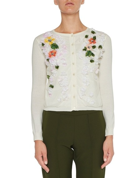 Cardigan With Flower and Leaf Embroidery
