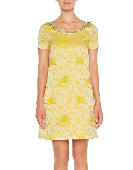Kleid aus Jacquard mit Blumen
