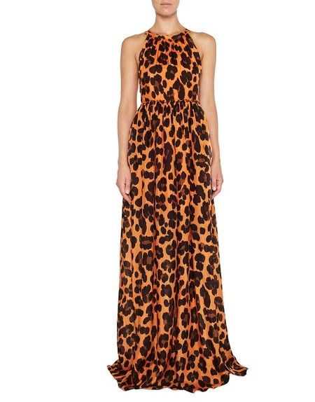 Langes Kleid aus Seide mit Animal-Print