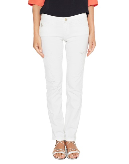 5-pocket Cotton Jeans With Daisies