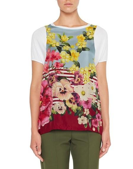 T-Shirt aus Jersey und Seide mit Blumenprint