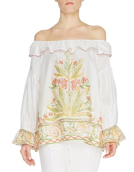 Blusa de algodón con bordado étnico