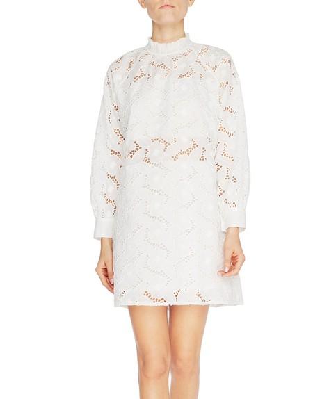 Langärmeliges Kleid mit A-Linie aus St. Galler Spitze mit Rosen