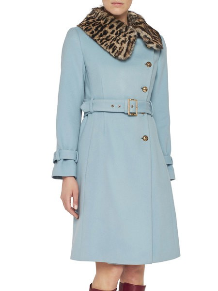 Coat With Animal-Print Collar