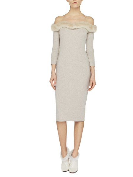 Knit Dress With Mink Fur