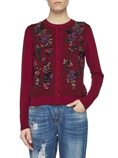 Cardigan With Flower Embroidery