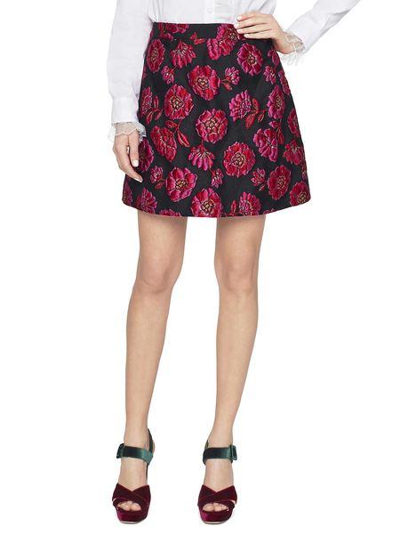 Minifalda De Jacquard Con Peonías